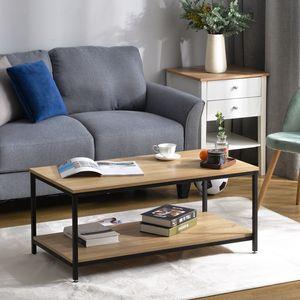 Modern Luxe Couchtisch Wohnzimmertisch Sofatisch mit Ablage Metallgestell Holz Stabil Vintage, Eichefarbe,Kaffeetisch mit Gitterablage,Couchtisch mit großer Staufläche