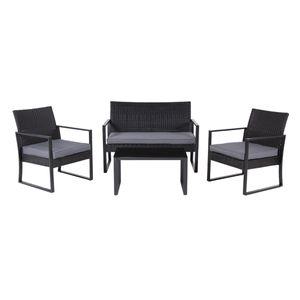 SVITA LOIS XL Polyrattan Sitzgruppe Gartenmöbelset Garnitur Tisch Sessel schwarz