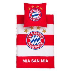FC BAYERN MÜNCHEN Bettwäsche Mia San Mia FC Bayern Rot / Weiß -
