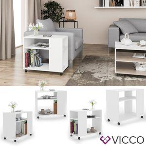 VICCO Beistelltisch ROLLI Couchtisch Rollen Weiß Sofatisch Wohnzimmer Ablage