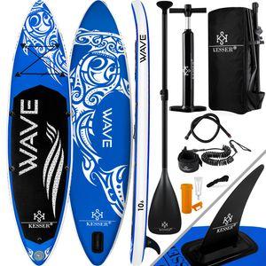 KESSER® Aufblasbares SUP Board Set Stand Up Paddle Board Premium Surfboard Wassersport | 6 Zoll Dick  | Komplettes Zubehör | 130kg , Farbe:(AQUA) Blau 366CM