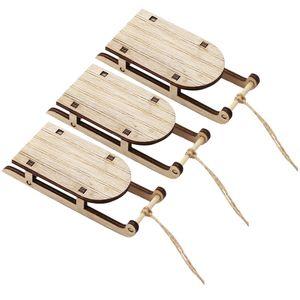 3 Stück Mini-Schlitten Miniatur-Mini-Schlitten aus Holz Tischplatte Holzschlitten
