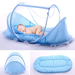 Babybett, Pop Up Reisebett für Baby Faltbar Kinderbett mit Moskitonetz und Matratze Leicht Krippe für 0-3 Jahre Baby, 110 * 65cm, Blau