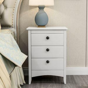 Merax Nachttisch skandinavisch Schubladenschrank mit 3 Schublade Nachtschrank Beistelltisch für Wohnzimmer Schlafzimmer Badezimmer, weiss