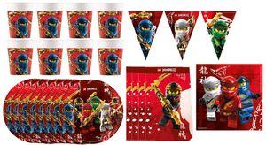 LEGO Ninjago - Kindergeburtstags-Set (41-teilig) Teller Becher Dekoration Servietten Geburtstag