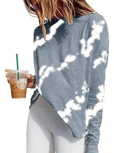 (Morydal)Pullover Damen Sweatshirt Pulli Langarm Basic Long Shirt Longshirt,Farbe: Grau Blau,Größe:S