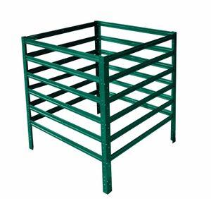 shelfplaza® HOME Komposter garten grün 90x75x75 cm / Kompostierer als Metallkomposter mit bis zu 506L Kapazität / Komposter Metall als Compost Bin & Kompostbehälter / Steck-Komposter für Garten