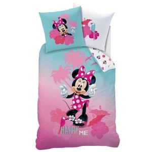 """Minnie Mouse Renforce Bettwäsche """"Happy Me"""" 80x80 + 135x200 cm, 100 % Baumwolle"""