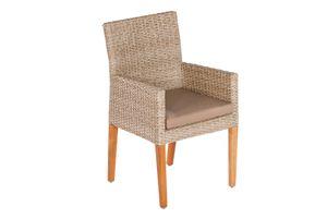 """Merxx Sessel """"Ranzano"""" 2er Set - Aluminiumgestell mit Kunststoffgeflecht schilf/natur und Akazie - 50439-259"""