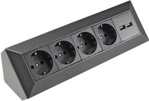 4-fach Steckdosenblock+2x USB, anthrazit 250V/ 16A, Aufbaumontage