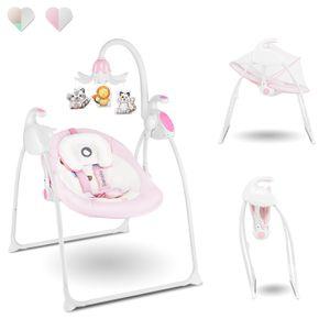 Lionelo Robin Baby Wippe Babyschaukel Elektrisch mit Liegefunktion von 0 bis 9 kg Moskitonetz Melodien Spieluhr Rosa