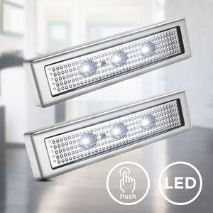 2er Set LED Push-Light I Unterbaulampe I Werkstattlampe I Touch-Lampe I Batteriebetrieben je 3xAAA I 6.000K Kaltweiß I Selbstklebend I Titanfarbig I B.K.Licht