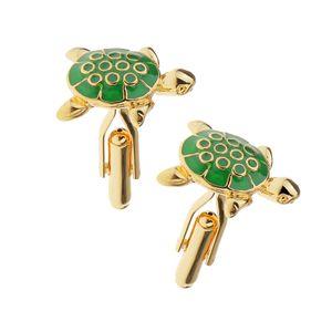Ein Paar Aus Edelstahl Männer Manschettenknopf Manschettenhemd Gesetzt Schildkröte Gold