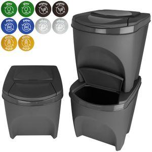 Abfalltrenner stapelbar 3x25 Liter Mülltrenner Set Abfalleimer Müllsortierer Mülleimer Biomüll Papiekorb Müll Eimer