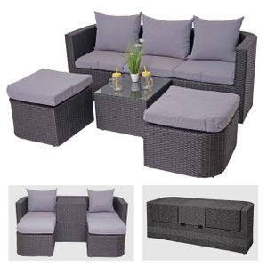 3in1-Garnitur HWC-J37, Garten-/Lounge-Set Sonneninsel, Spun Poly halbrundes Poly-Rattan  anthrazit, Kissen hellgrau