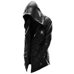 Männer Casual Lose Kapuzenjacke Mantel Hoodie Outwear Mantel Strickjacke Offene Front,Farbe: Schwarz,Größe:XXL