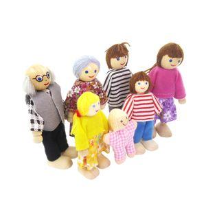7 Personen Familie Puppen Biegepuppen aus Holz & Stoff für Kinder Puppenhaus Spielzeug