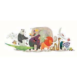 Djeco Riesenpuzzle Tierparade 36 große Puzzlestein bilden ein Tierbild 133 cm breit ab 4 Jahren