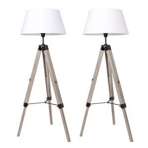 2x Stehlampe Tripod Stehleuchte Wohnzimmerlampe,Standleuchte für Wohnzimmer,Schlafzimmer E27 -Weiß