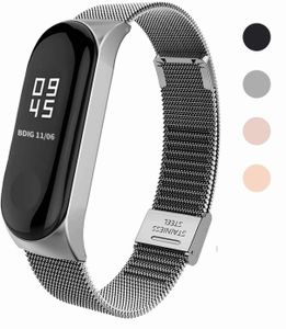 Kompatibel mit für Mi Band 5 Armband, MiBand 5 Ersatzband Wasserdicht Edelstahl Replacement Wrist Strap Armband Zubehör für Xiaomi Mi Band 5, Silber