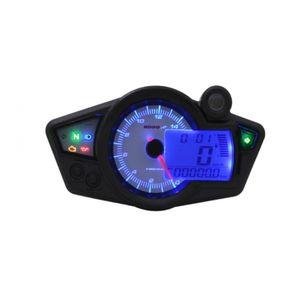 Tachometer KOSO Digital Cockpit RX1N GP Style Drehzahlmesser mit ABE, weiß / blaues Display universal für Motorrad Quad Roller