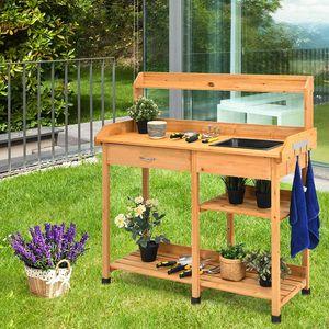COSTWAY Gärtnertisch Holz, Pflanztisch Garten Arbeitstisch Gartentisch mit Haken, Waschbecken, Schublade, Holzpflanztisch für Garten Balkon 115x45x121cm