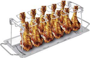 ONVAYA® Hähnchenbräter Edelstahl | Hähnchenhalter für Grill und Backofen | Geflügelhalter mit Auffangschale | Hähnchenschenkel Halter