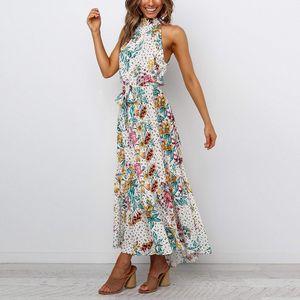 Damen Blumenkleid Mit Hängendem Hals Lässige Mode Langer Rock,Farbe: Weiß,Größe:M