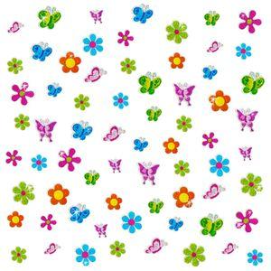Oblique Unique 68 Sticker Aufkleber Blumen Schmetterlinge glitzernd Kinder - bunt
