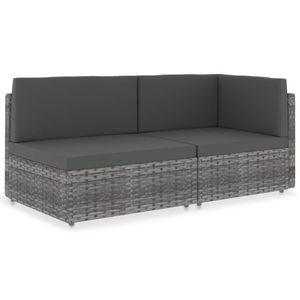 vidaXL Modulares 2-Sitzer-Sofa Poly Rattan Grau