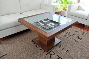 Design Couchtisch Tisch S-360 Nussbaum / Walnuss Milchglas Carl Svensson