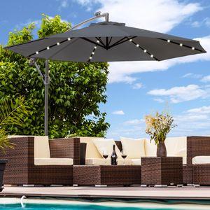 Luxus Sonnenschirm mit LED Beleuchtung Ampelschirm 300 cm Garten Schirm Pavillon - anthrazit