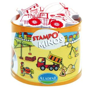 ALADINE Stampo Minos Baustelle Kinderstempel Stempel Kinder Stempelkissen