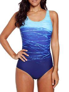 UnicornDD Bikinis für Damen Neuer siamesischer Wasserwellen-Gradienten-Bikini-Badeanzug Rückenloser Badeanzug-Blau_XL,Tankinis,Tankinis