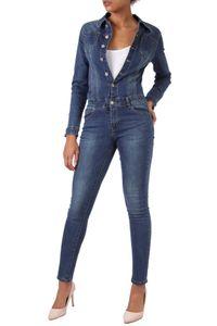 Damen Jeans Overall Jumpsuit Skinny Fit Hosenanzug Einteiler, Farben:Blau, Größe:38