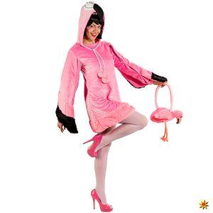 Damen Kostüm Flamingo Rosalie mit Handtasche, Größe:34 / 36