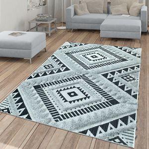 In- & Outdoor-Teppich, Mit Hochflor-Absetzung Und Ethno-Look, In Schwarz-Weiß, Größe:80x150 cm
