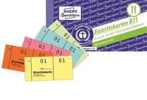 500x Eintrittskarte 105x53 Nr. 1-500 Gelb 5 Blöcke