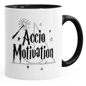 Kaffee-Tasse Accio Motivation Teetasse Keramiktasse Spruch-Tasse MoonWorks® schwarz unisize