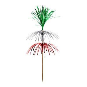 """100 Deko-Picker 18 cm grün/silber/rot """"Feuerwerk"""" 3-lagig"""