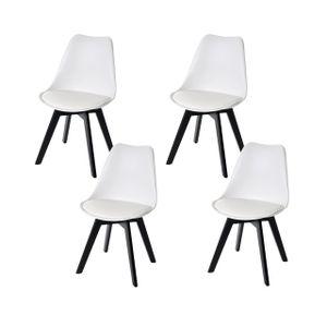 4x Esszimmerstuhl HWC-E53, Stuhl Küchenstuhl, Retro Design  weiß/weiß, Kunstleder, schwarze Beine