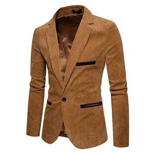 Herren Herbst Winter Casual Cord Slim Langarm Mantel Anzug Jacke Blazer Top Größe:XXL,Farbe:Ocker