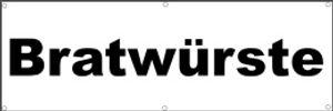 Werbeplane / Gerüstplane - p27 - Bratwürste / Imbiss - Plane - Banner 150cm x 50 cm - für Baustelle, Garten, Zaun oder Veranstaltung