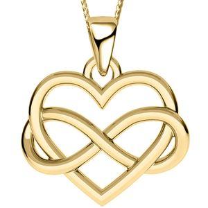Damen Mädchen Herz 42cm Halskette mit Anhänger echt 925 Sterling Silber Gold Kette Damenkette Herzkette Unendlickeit Halsschmuck A124+Org