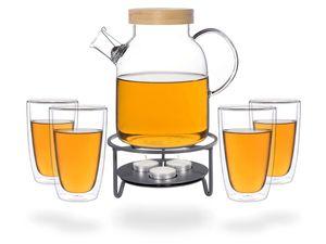 Kira Teeset / Teeservice / Teekanne Glas 1,6 liter mit Tüllensieb, Bambusdeckel, Stövchen Metall und 4 doppelwandige Teegläser je 360ml