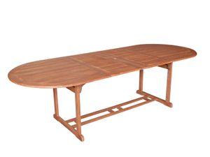DEGAMO Gartentisch Ausziehtisch Holztisch LAGO 180x100cm, ausziehbar auf 260cm, Holz Eukalyptus geölt, ovale Form