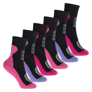Footstar 6 Paar Kinder Frottee Socken mit Thermo-Effekt - Variante 1 Blau Pink 35-38