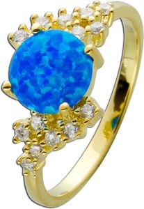 Ring Silber 925/- vergoldet,1 blauer synth. Opal, 14 weisse Zirkonia 17
