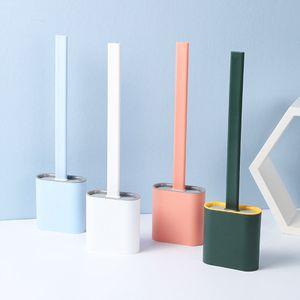 Silikon-Toilettenbürste mit Toilettenbürstenhalter Kreatives Reinigungsbürstenset WC-Bürsten  Rosa