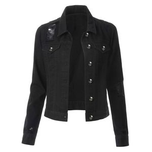 Damen Casual Fashion Jeansjacke Jean Coat Perlen Outwear Mantel LRR90821615 Größe:XL,Farbe:Schwarz